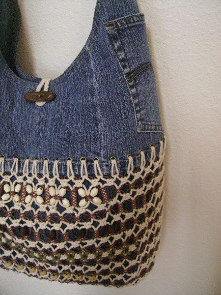 crochet denim purse