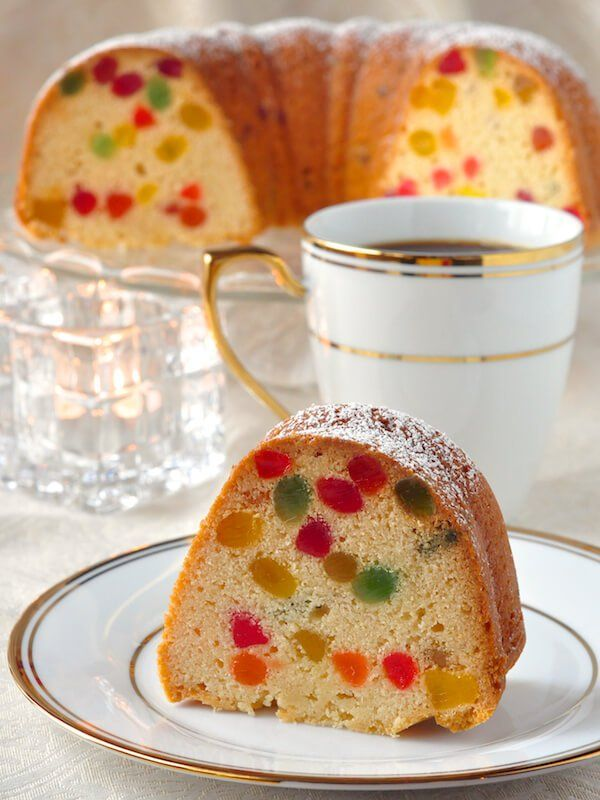Gumdrop Cake – a dense buttery pound cake packed with brilliantly colored morsels of gumdrop candy. It's very popular during the Holidays or as a birthday cake here in Newfoundland.