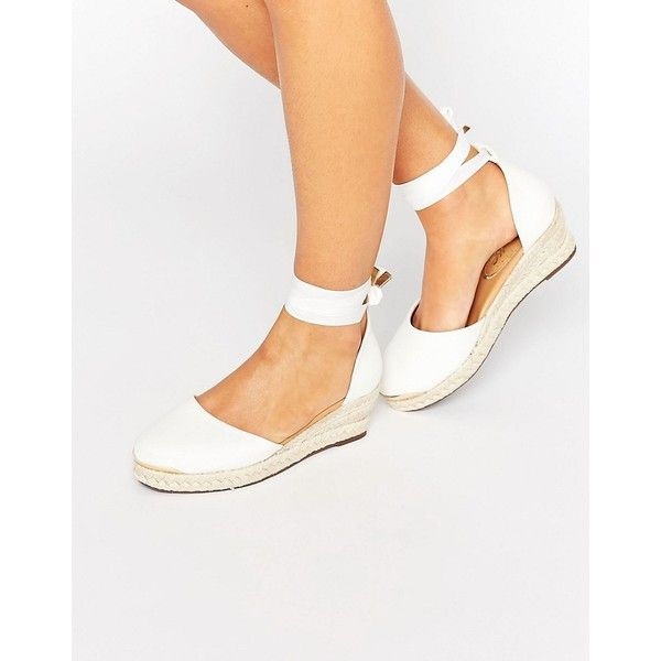 Miss KG Leonie Wedge Espadrille ($60) ❤ liked on Polyvore featuring shoes, sandals, white, jeweled sandals, white wedge shoes, ankle strap flats, espadrille flats and espadrille sandals