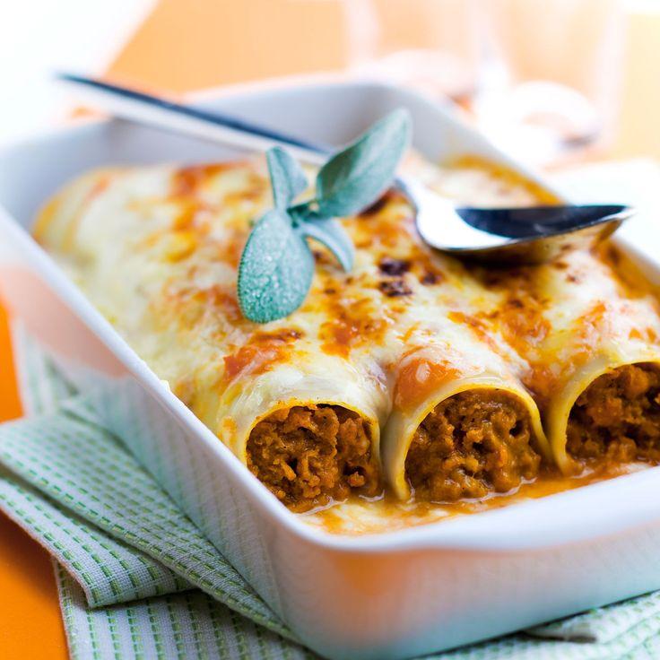 Cannellonis gratinés farcis à la bolognaise sur cuisineactuelle.fr.