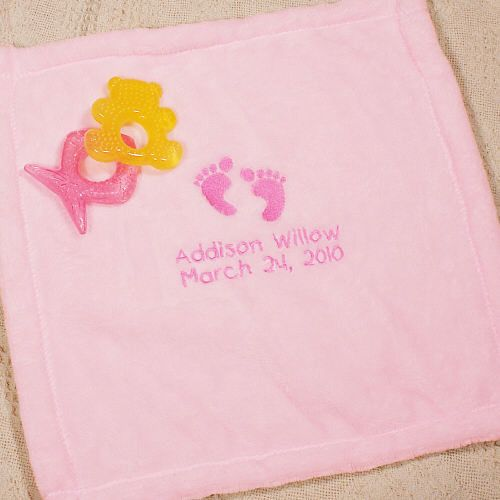 70 best new baby gift ideas images on pinterest baby gifts baby embroidered pink baby security blankie negle Images