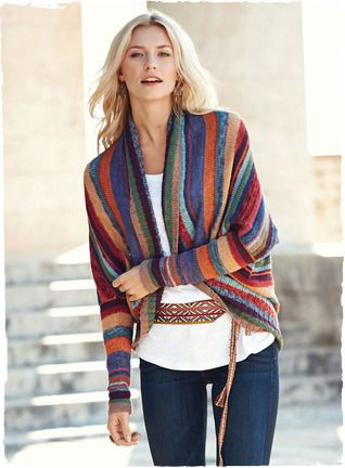 Peruvian Connection | Kaffe Fassett's gorgeous art knit cardigan is striped in dozens of tweeded, sun-drenched hues of pima.