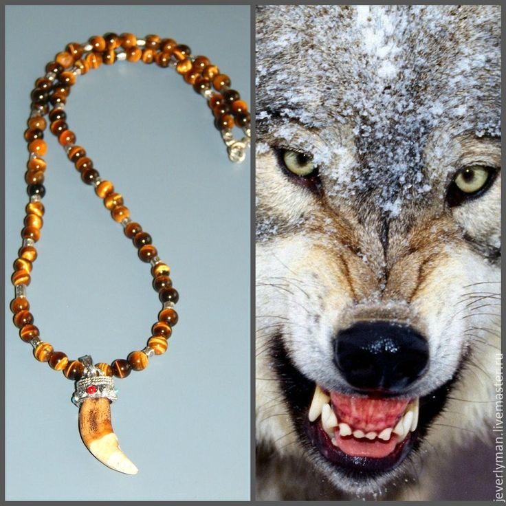 Бусы из тигрового глаза с зубом волка 1522 - коричневый,тигровый глаз