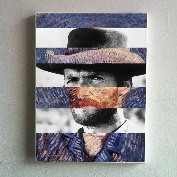 Canvas Van Gogh's Self Portrait and Clint by KingOfMashUps on Etsy