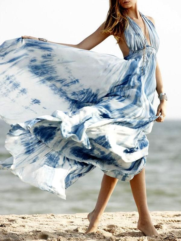 8c47dd959e Bohemia Floral-Printed Short Sleeve V Neck Side Split Beach Dress –  oshoplive
