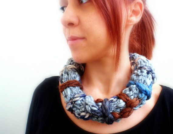 Bulky hand knitted and braided necklace in grey with blue by Kikoa, $25.00