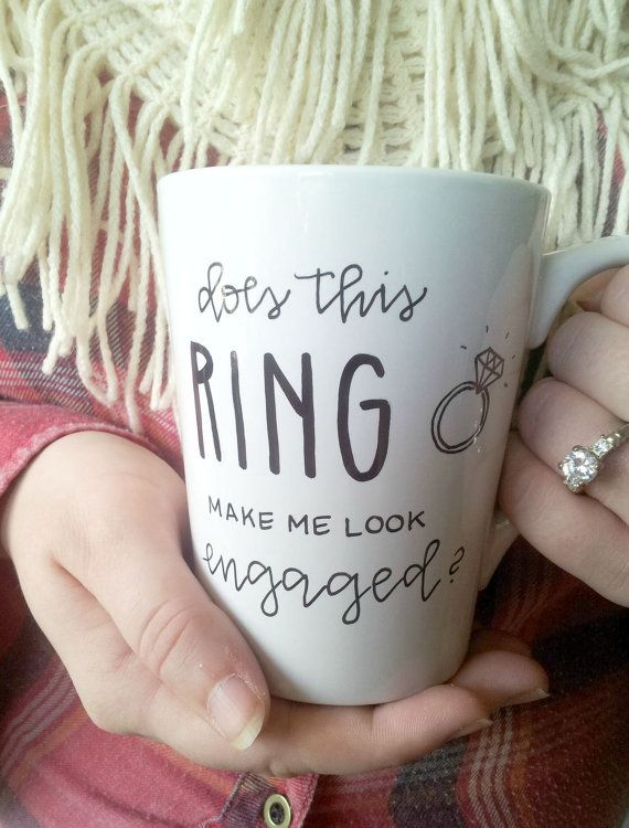 Does this ring make me look engaged? mug / engagement gift / engagement mug / personalized gift mug – wishlist