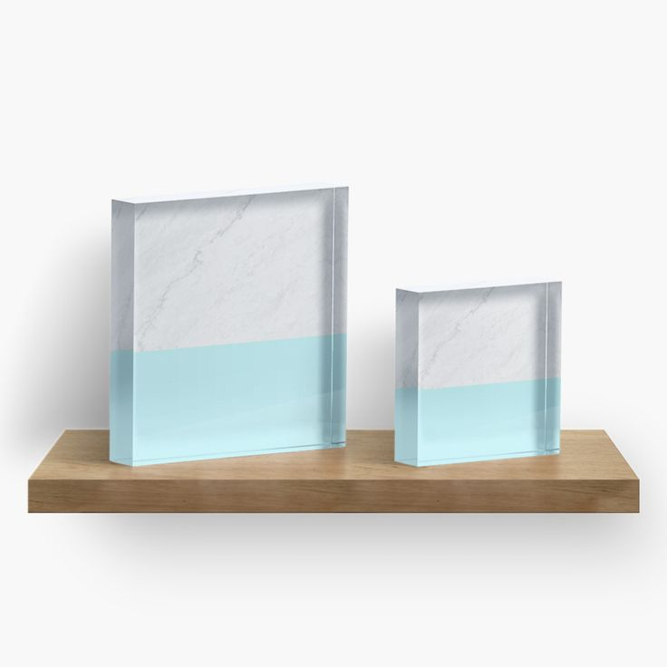 Marble And Aqua Blue Acrylic Blocks by ARTbyJWP from Redbubble #acrylicblocks #artprints #walldeco #marble #blue  ----     Minimalist digital collage of marble texture photo and bold aqua blue color. • Also buy this artwork on home decor, apparel, stickers, and more.