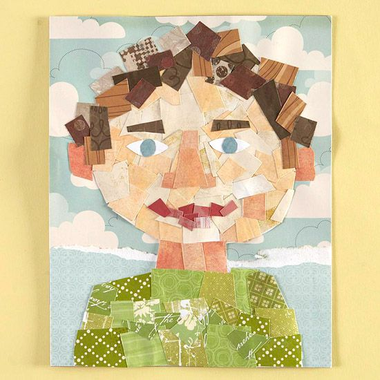 Put paper scraps to use and create a frame worthy piece of art with your kid. Sketch the outline, then fill in with paper scraps that match hair, skin and favorite shirt.