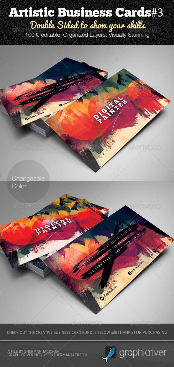"Are you a Graphic Designer or a Graphic Artist? This business card is a must have, it's all about who you actually are. The card features stunning painterly effects. You don't have to present mundane business cards to your ""potential clients or customers"" anymore. - $6.00"