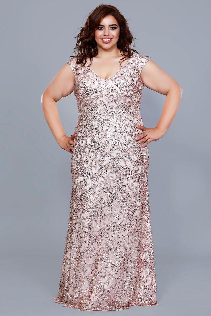 V Neck Cap Sleeve Embellished A Line Rose Gold Plus Size Bridesmaid Mother Of The Vestidos Para Madrinhas Gordinhas Vestidos Vestidos Plus Size Festa Casamento