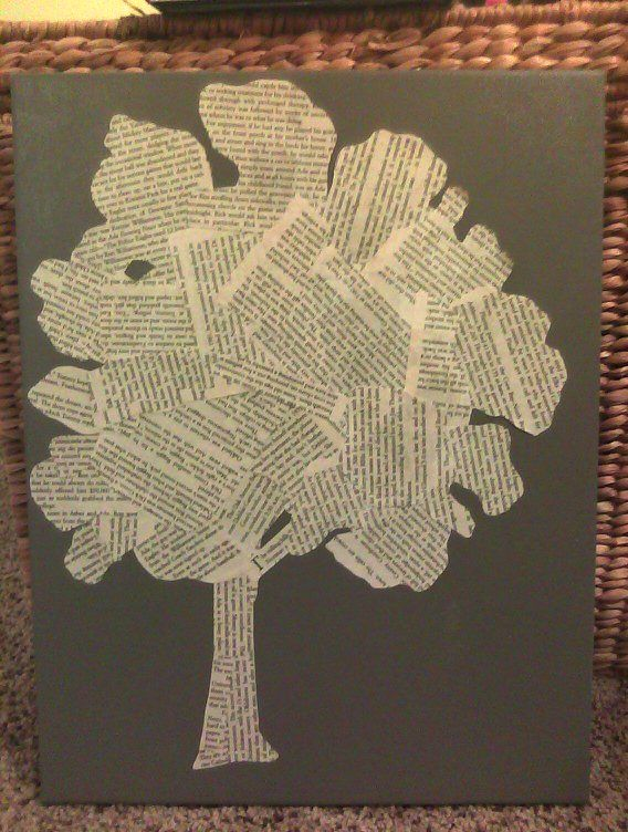 Tree silhouette from pages of an old book.  Consider using pages from different books for varied text size,  fonts, & different shades of paper. Making a tree out of paper is sort of ironic, when you think about it... but then, journals are for those kinds of thoughts!  #art #journal