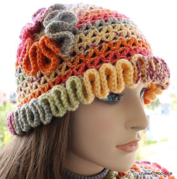 Crochet Hat PATTERN - Crochet Hat With Flower - Happy Autumn Colors by LyubavaCrochet