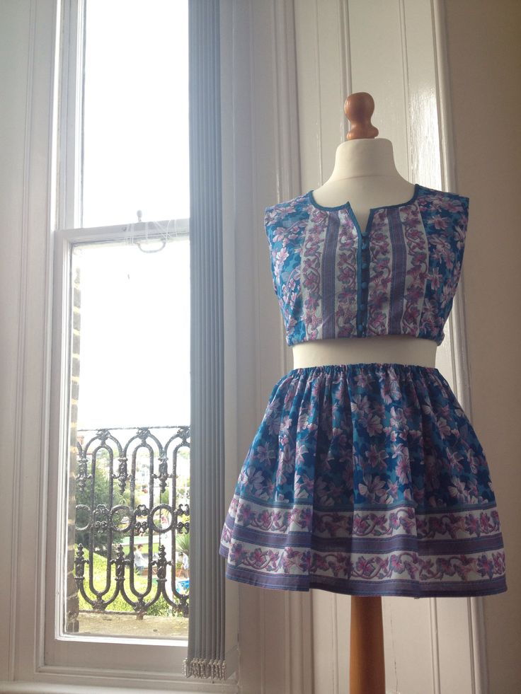 Reworked long dress into coord outfit - Sold