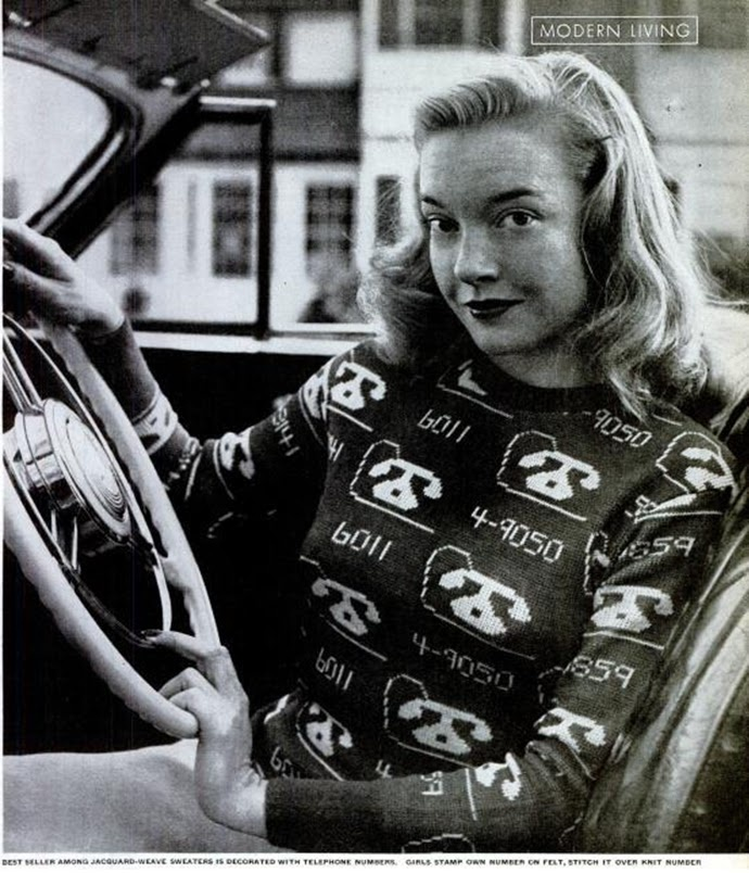 jacquard novelty sweater 1940s-50s