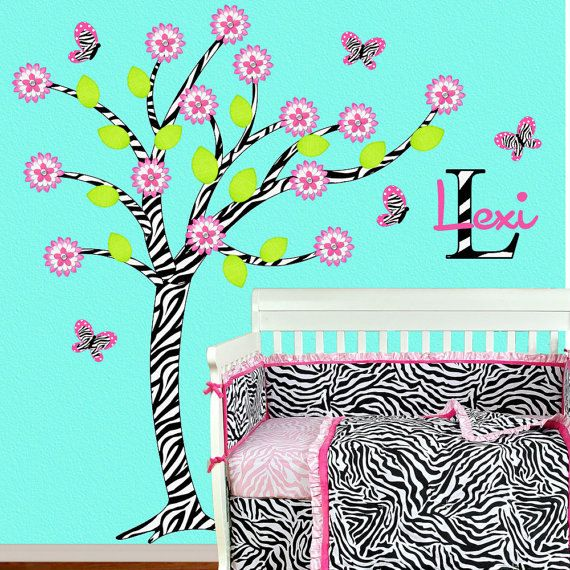 Zebra Girl Room Decor Children Wall Decal Hot Pink Zebra Tree Wall Decal Children Baby Kid