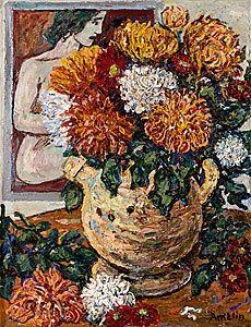 Blomsterstilleben med krysantemer by Albin Amelin
