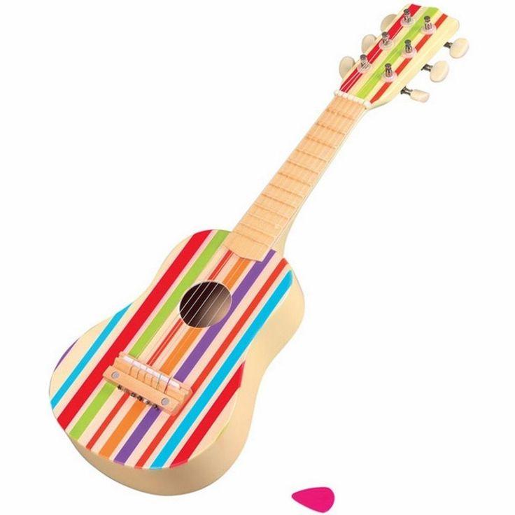 Chitarra Legno con decorazioni a strisce, 6 corde un plettro L.53 x H.17 x L.6.