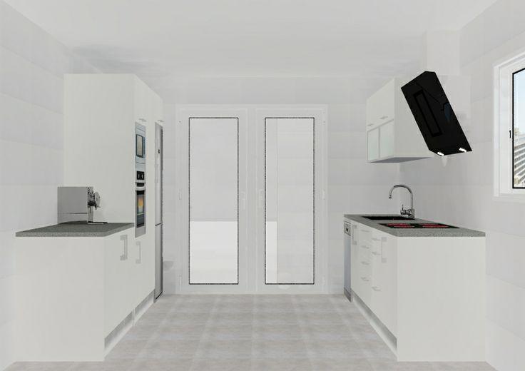 Vista en paralelo cocina en 3D