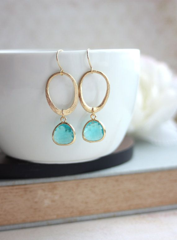 A Textured Wavy Oval Loop, Erinite Gold Plated Teardrop Pear Glass Drop Earrings. Bridesmaid Gifts. MOH.  Modern. Everyday. Blueish Green.