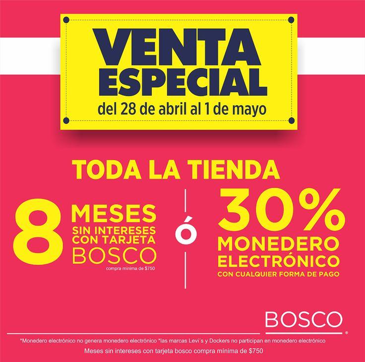 ¡Ven a nuestra gran #venta especial Bosco! TODA la tienda tiene 8 MSI con tu tarjeta Bosco ó 30% en ME.  #Puebla  #Bosco #moda #Fashion #familia