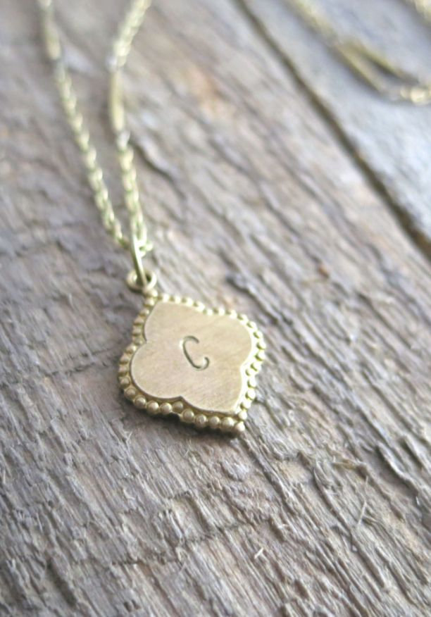 Antique Brass Hand Stamped Initial Necklace | Etsy