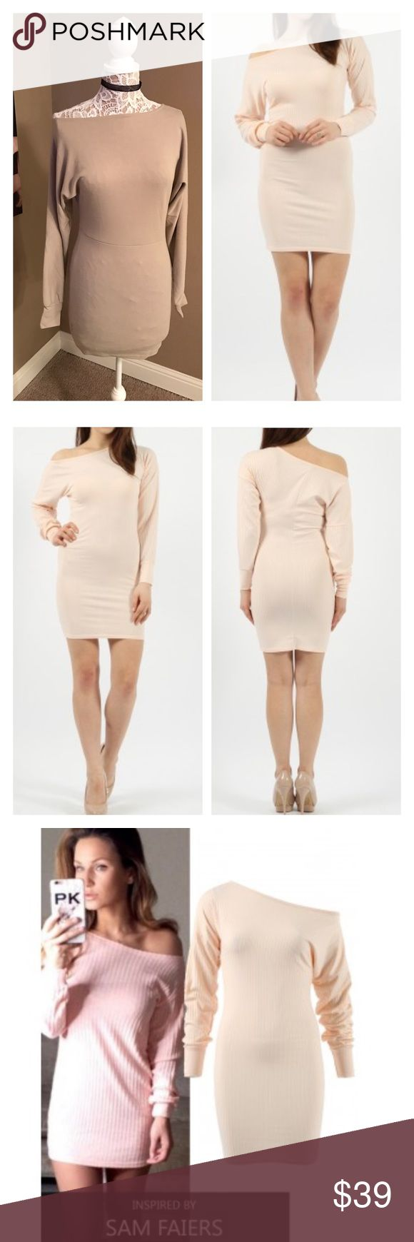 Off shoulder celebrity inspired body con dress This body con dress can be worn off shoulder on one shoulder. Nude color. Lightweight soft sweater like material. Polyester and elastane. U.K. Boutique Brand outsources to name brands such as ASOS and Missguided. Available in sizes 4 to 10. NWT. ASOS Dresses
