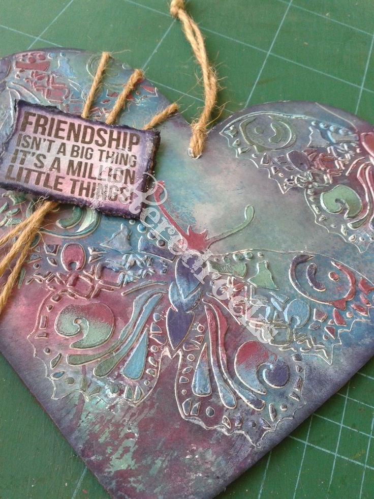 Butterfly grunge - friendship heart. Purples & blues.