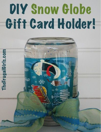 DIY Snow Globe Gift Card Holder!  {in a jar!} ~ at TheFrugalGirls.com #masonjars #snowglobes #thefrugalgirls
