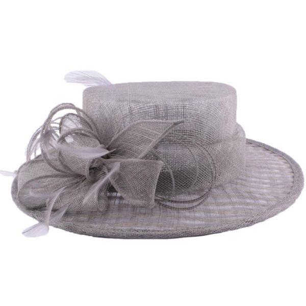 Chapeau Cérémonie Fève en sisal Gris #mariage #mode #mariee #fashion sur www.hatshowroom.com