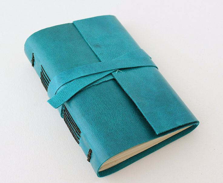 Turquoise Leather Journal by GatzBcn on Etsy