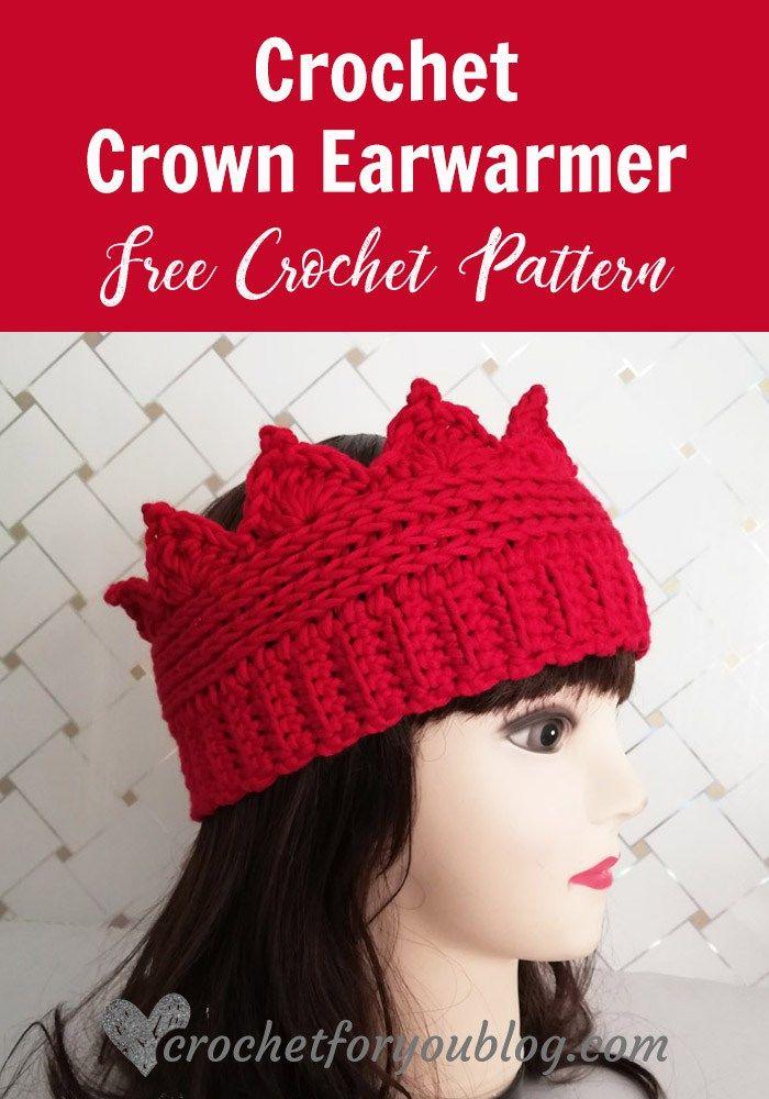 Crochet Crown Earwarmer Free Pattern  crochet  winter  crochetforyoublog   freecrochetpattern 4d3b9364934