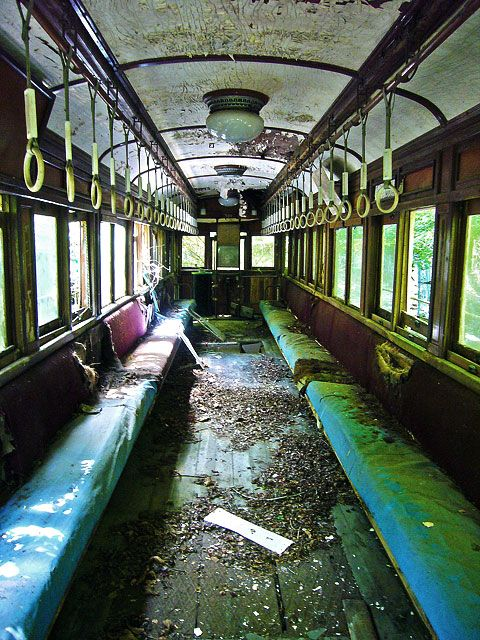 Is waste tram ruins of amusement are on display inside. Not rough as I expected. Nostalgic seat colours and wooden floors.