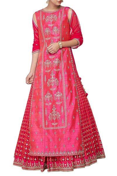 Lehengas , Clothing, Carma, Pink embroidered kurta and lehenga set , , ,
