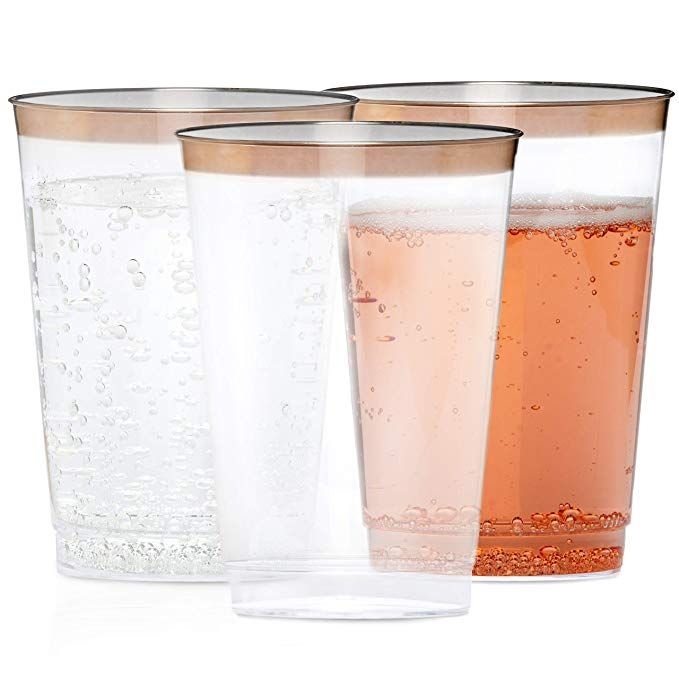 Celebrite Clear Cups With Rose Gold Rim 12 Oz Pack Of 60 Rose Gold Plastic Cup Plastic Wine Tumbler D Disposable Wine Glasses Clear Cups Rose Gold Rims