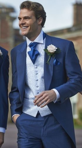 Our royal blue mohair tailcoat, Lydbury. #peterposh #wedding #groom #weddingsuits #bluesuit #bowtie #groomsmen