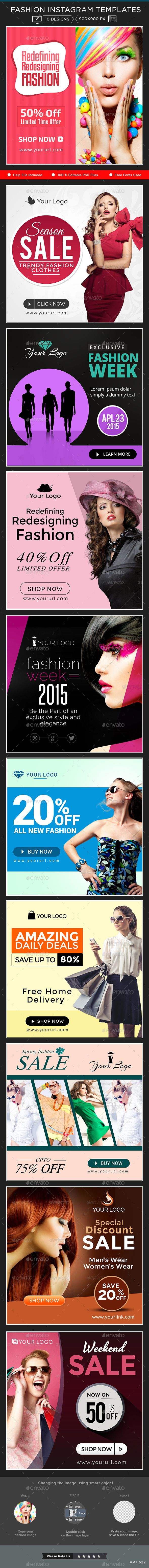 Fashion Instagram Banners - 10 Designs - Banners & Ads Web Template PSD. Download here: http://graphicriver.net/item/fashion-instagram-banners-10-designs/10998272?s_rank=1771&ref=yinkira