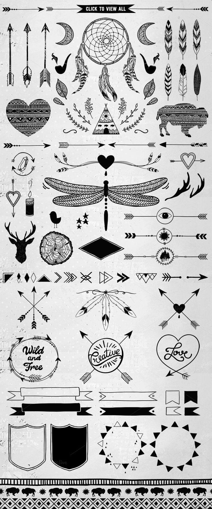 Hand gezeichnetes Stammes-Design-Vektor-Pack von SoNice auf Creative Market: #c