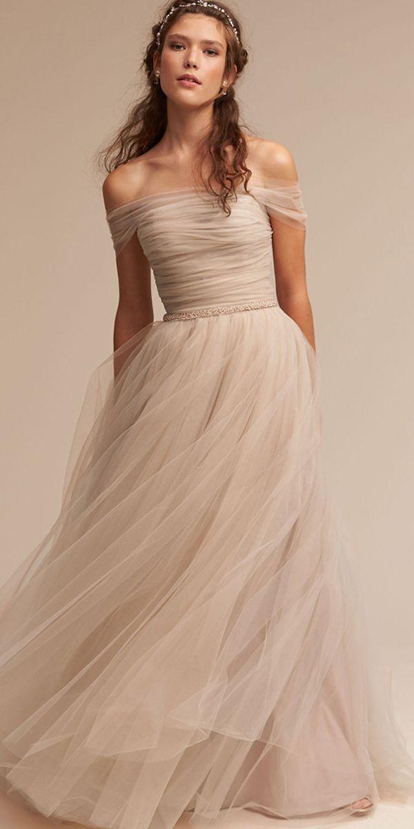 [123.59] Simple Tulle & Satin Off-the-shoulder Neckline A-Line Wedding Dresses