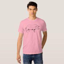 Pig Vintage Illustration Meat Cuts T-shirts