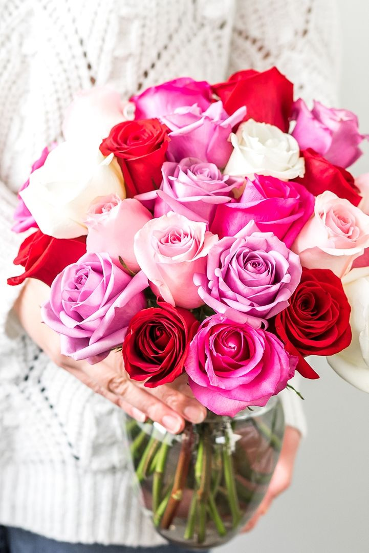 Valentine S Day Pink Purple And Red Roses Valentines Flowers Rose Flowers For You