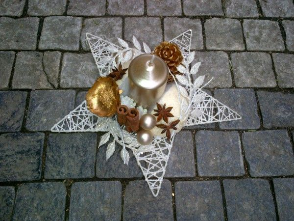 Galerie :: MY FLORIST Chrismas single candle holders, star shaped, golden candle
