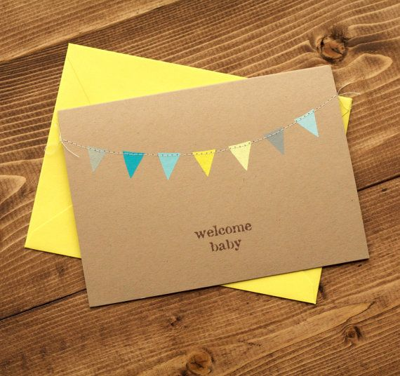 New Baby Card for Boy, Welcome Baby Boy, Congratulations New Baby Card, Welcome Baby, Blue Yellow and Grey Bunting Flags