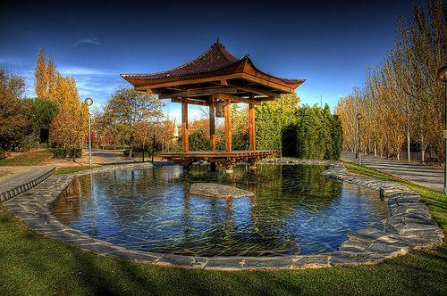 Parque de La Vega Pagoda de la Paz / Japanese temple of Peace in Alcobendas, Madrid