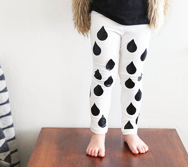 Rain drop leggings made with Cricut Iron-on by Small Fry. Make It Now with the Cricut Explore in Cricut Design Space
