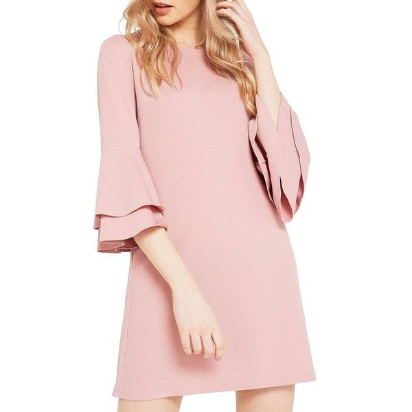 Miss Selfridge Women's Flute Sleeve Shift Dress ($40) ❤ liked on Polyvore featuring dresses, pink, flared sleeve dress, open back dresses, open back shift dress, miss selfridge dresses and bell sleeve dress