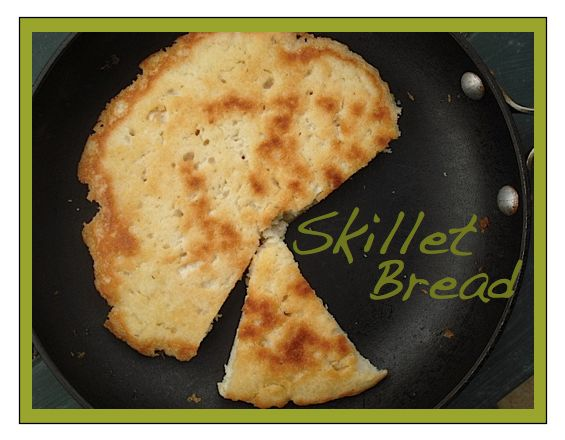 Kitchen Bounty: Tibetan Flatbread (Skillet Bread)  1.5 cups all-purpose flour 1/2 - 1 teaspoon table salt 1.5 - 2 teaspoons baking powder 1 cup water 1.5 - 2 tablespoons extra-virgin olive oil 1.5 - 2 tablespoons water 1, 8 or 8.5-inch non-stick skillet