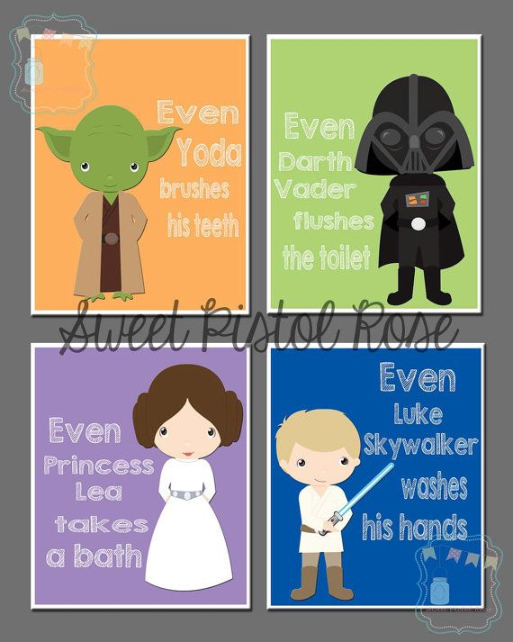 Printable Star Wars bathroom Art available in 5x7, 8x10, 11th www.etsy.com/shop/sweetpistolrose