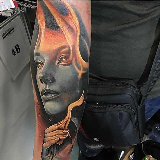 Fire Lady by @levgen_eugeneknysh in Wroclaw Poland. #fire #lady #firelady #levgeneugeneknysh #levgen_eugeneknysh #wroclaw #poland #tattoo #tattoos #tattoosnob