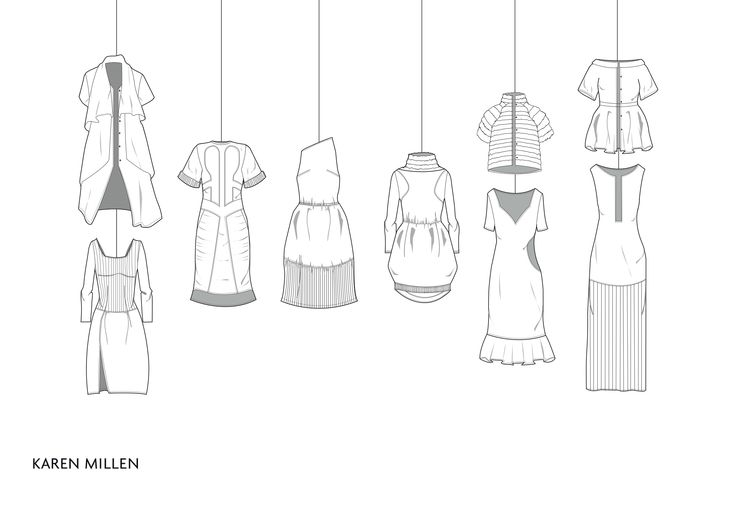 Karen Millen flat drawings by Hannah Brook